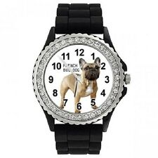 Französische Bulldogge Strass Damenuhr mit Silikonarmband SGP315