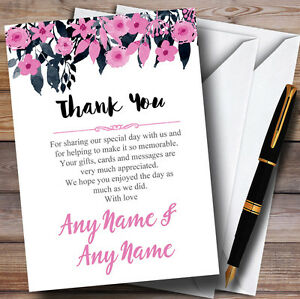 Watercolour Black Dusty Pink Floral Header Personalised Wedding Thank You Cards