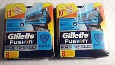 2 PACK GILLETTE FUSION PROSHIELD CHILI 8 CARTRIDGES.  TOTAL 16 CARTRIDGES.  MADE