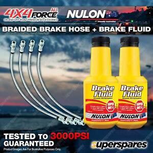 4 Front+Rear Braided Brake Hoses + Nulon Fluid for Mazda BT50 UR 11-on