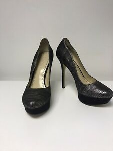 ENZO ANGIOLINI - Designer Platform Stiletto Heels - Black Silver - Fits a uk 6