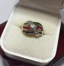 WoW 10k Yellow Gold Sapphire Ruby Emerald Diamond Pave Cocktail Wedding Ring 8