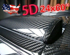 "US Ship 24""x60"" 5D Shiny Glossy Carbon Fiber Car Vinyl Film Wrap Sticker Decal"