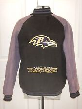 Baltimore Ravens Distressed Suede Leather Coat XL Black/Purple Logo Front & Back