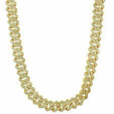 18K Gold Plated Out Iced Lab Diamond Prong Set Men Women 14mm Cuban Link Chain