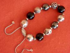 DAVID YURMAN Elements 13-15mm Bead Bracelet Black Onyx Hematite SSilver Adj.$695