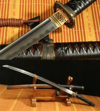 DAMASCUS FOLDED  STEEL CLAY TEMPERED ARMY JAPANESE SWORD KATANA FULL TANG