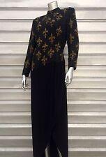 BOB MACKIE Black Tie Long Sleeve Gold Beaded Fleur De Lis Wrap Dress Gown RARE!!