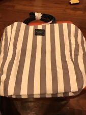 NWT VICTORIA SECRET Stripped Canvas Tote Bag Shopper Grey and White March 2017