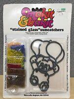 Vintage Makit & Bakit Stained Glass Suncatcher Bear W/ Balloons Window New 50832