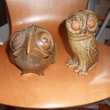 2 owl art pottery money boxes