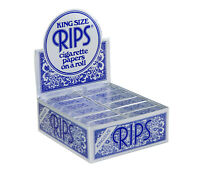 RIPS KING SIZE BLUE CIGARETTE PAPERS ROLL 24 ROLLS  FULL BOX **NEW**