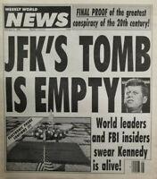 Weekly World News Feb 4 1992 JFKs Tomb is Empty - Kennedy World Leaders FBI