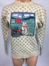 EDDIE BAUER Women's Vintage Wool Cat Sweater Beige M 1989