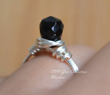 Natural Gemstone Crystal Facted Obsidian Hand Crafted Silver Copper Wire Ring