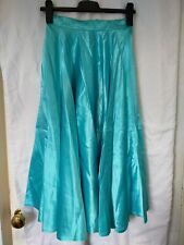Turquoise Skirt Satin 32 Cm Waist, 75 cm length