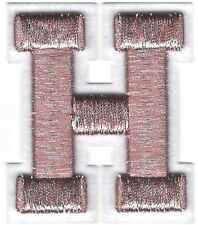 "2 1/8"" x 2 1/2"" Metallic Silver Pink White Felt 3D Raised Letter H Patch"