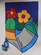 Watering Can with Water Streamers, Bright Flowers, Shaped Summer Garden flag