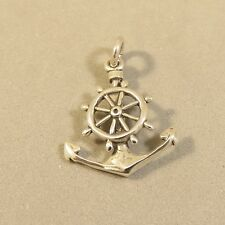 .925 Sterling Silver 3-D CAPTAINS WHEEL/ANCHOR CHARM NEW Pendant Sail 925 NT96