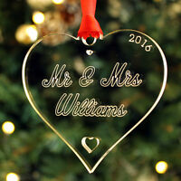 Personalised 'Mr & Mrs' Heart Bauble Christmas Tree Decoration Couple Gift Idea