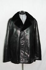 (DBZ)Men's Black Nappa dble face shearling Lamb Mink fur collar double breasted