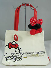 Hello Kitty 40th Anniv Canvas Faux Leather Tote Bag 3 Puffy Bows Detachable