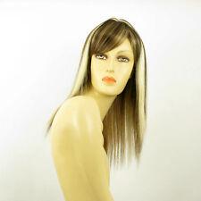 Perruque femme mi-longue méchée blond clair méché cuivré chocolat VERA 15613H4