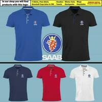 SAAB Polo T Shirt EMBROIDERED Auto Car Logo Slim Fit Tee Mens Clothing Gift
