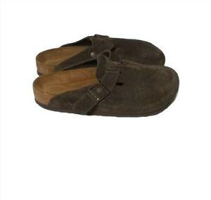 Birkenstock Boston Unisex Mocha Suede Leather Soft Footbed Slide Clogs Size 41