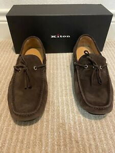 NIB $950 KITON Brown Calf Suede Driving Moccasins Loafers US 10.5
