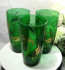 Three vintage emerald green & gold leaves Tumblers Glasses 16 oz
