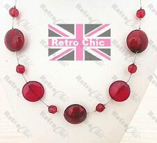 RETRO ROUND BEAD beaded NECKLACE&DROP EARRINGS SET silver tone RED CIRCLE