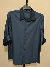Perry Ellis Men's Sz XL Tab Sleeve Button Down Shirt Slim Fit Demin Blue Cotton