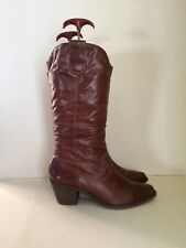 Dune Brown Leather Mid Calf Cowboy Boots - Size 5 (38)