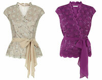 ex Jacques Vert Top - Jacques Vert Stretched Lace Belted Cross Top