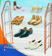 4 Tier Wire Metal Shoe Rack Stand Organiser Storage Cart Easy Assembly