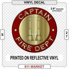 Captain Rank Decal Firefighter Fire Department Collar FD Insignia Sticker   S 27