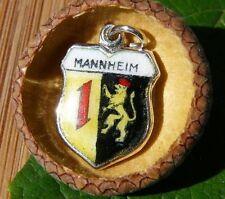VINTAGE 800 SILVER enamel MANNHEIM Germany shield CHARM (C-157)