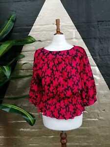 Original Vintage1980s Debenhams Red/Black Floral Print Peplum Blouse