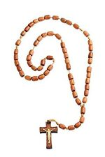 Catholic Prayer Rosary Jatoba Wood Beads Cord Necklace Cross Crucifix, 19 Inch