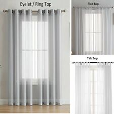 Viceroybedding Pair of Plain Voile Slot Top Curtains Tiebacks Included by