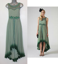 MONSOON Green ELIANA Embellished Shimmering Floral Waistband Dress UK 10 rrp£249