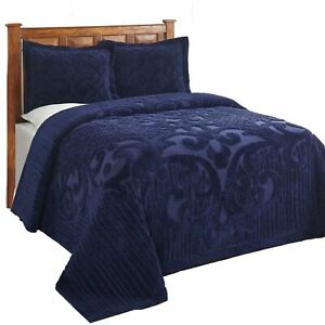 "Ashton Chenille Bed Spread King - 120""X110"" In Color Navy"