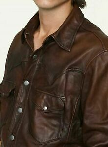 Genuine Sheep Leather Shirt Brown Wax Leather Full Sleeve Shirt for Men