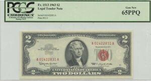 1963 $2 Legal Tender FR#1513 PCGS 65 Gem PPQ