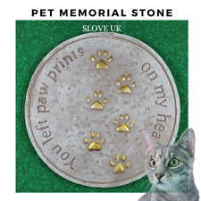 Pet Memorial Plaque Garden Stepping Stone - Cat Paw print - Grave Head Marker
