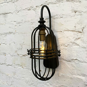 Industrial Round Caged Metal Bedroom Bed Side Table Desk LED Lighting Wall Lamp
