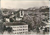 Ansichtskarte Kempten/Allgäu - Lorenzkirche mit Blick auf Allgäuer Alpen - s/w