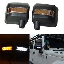 For 07-17 Jeep Wrangler JK  Rear View Side Mirror Housing White/Amber Arrow LED