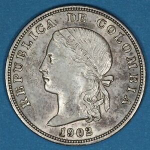 1902 Colombia 50 Centavos silver coin, AU, KM# 192